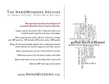 NanoWisdoms Archive of Imamat Speeches, Interviews & Writings - Notice Board Flyer